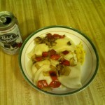 PBR and Pierogies with peppers and onions.